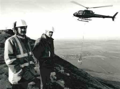 Helicopter airlifts for restoration in the 90's – me with Terry  Sutcliffe of Cleveland County Council  (North York Moors National Park)