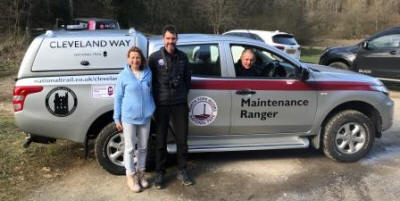 The new Cleveland Way van provided by Hardmoors  contributions, myself & Shirley Steele of Hardmoors with  Andrew in the driving seat (Jon Steele)