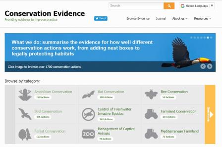 Conservation Evidence homepage