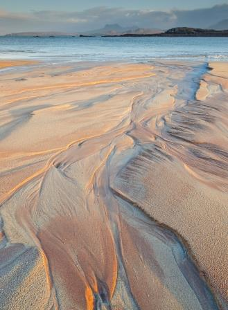 Last and lowest warm light of the day illuminating sand patterns (Paul Gallagher)