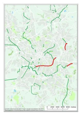 Greener Greenway Routes shown in red around Manchester (Credit Ian Barker)