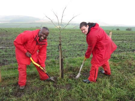 Tree planting with Darwen Asylum Seekers and Refugee  Enterprise (Yorkshire Dales Millennium Trust)