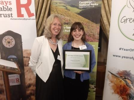 Judy Rogers and Rosie Russell-Cohen receive the 2019 Year of  Green Action Award (Yorkshire Dales Millennium Trust)