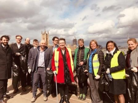 Defra staff litter picking along the Thames Path
