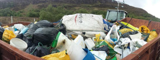 300 bags of rubbish collected during a beach clean at Dun Canna © Noel Hawkins via Scottish Wildlife Trust