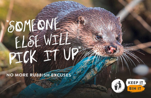 Poster image of otter with litter (defra)