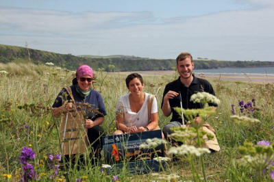St Cyrus Reserve Manager Therese Alampo, MSP for Angus North and Mearns Mairi Gougeon and Reserve Assistant Simon Ritchie launch Take 3 For the Sea © Pauline Smith