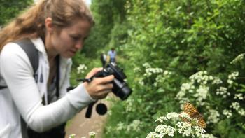 Marsh fritillary and photographer (C) Tom Hibbert