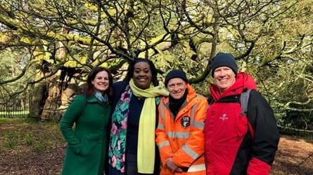 (L-R) Holly Worton, tree whisperer; This Morning's Alison Hammond; park ranger, John Warren and the Trust's Paul Bunton at Liverpool's Allerton Oak. Credit: Natalie Stephenson / WTML