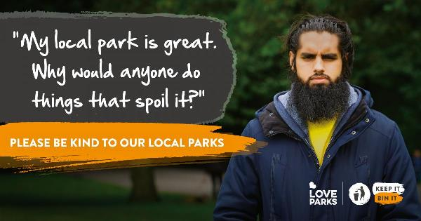 Please be kind to our local parks banner (Keep Britian Tidy)