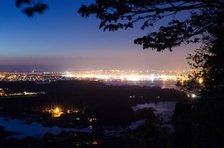 Street lighting creates an artificial glow in the night sky above Plymouth and the surrounding areas (Credit Thomas Davies, University of Plymouth)