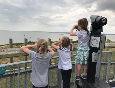 National Whale and Dolphin Watch 2019 volunteer observers looking out for whales and dolphins at Essex Wildlife Trust Thurrock Thameside Nature Park, England. Photo credit: Tiffany Rogerson / Essex Wildlife Trust