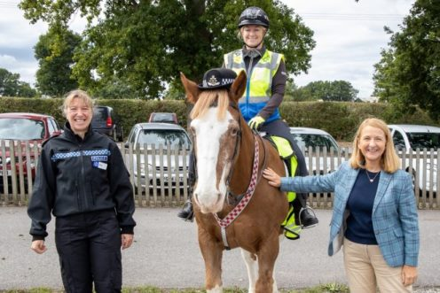 Equine Ranger on horseback flanked by police chief and national park officer (image: SDNPA)