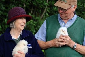 David Sandford and his wife with the baby owls ringed on their farm (image: Ulster Wildlife)