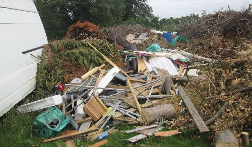 Heap of illegally dumped rubbish