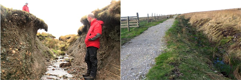 left: man standing in heavily erroded 'ditch'  ground level over his head. right side, mended smooth path
