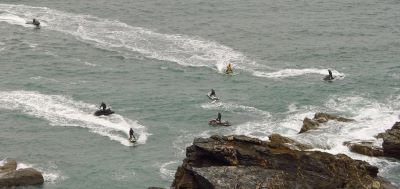 Jet skis disturbing seals in a quiet Cornish cove, Image by Cornwall Seal Group Research Trust