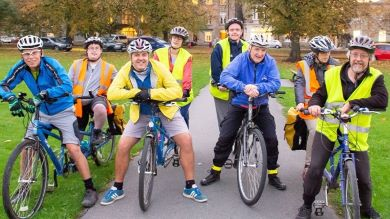 Group of cyclists in high vis vests in park credit: Antony Oxley, Sustrans