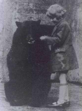 A Canadian black bear called Winnie with Christopher Robin Milne © ZSL