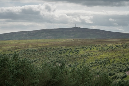 view over Langholm Moor to distant hills.