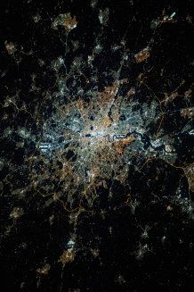 London at night, seen from the International Space Station. Different colours are visible, showing different lighting technologies. Credit A.Sánchez de Miguel, ESA, NASA
