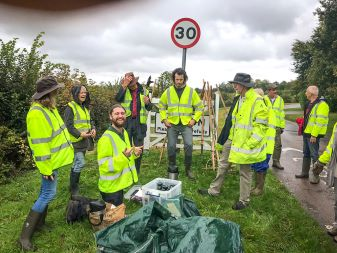 Hedgerow Havens volunteers sow wildflower seeds along roadside verges near the village of Weedon. Picture: Marcus Militello