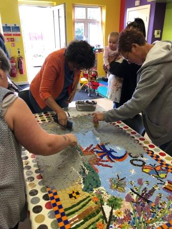 Mosaic-making at the Phoenix Centre, Rhyl (Katrina Day)