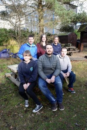 5 trainees alongside Amy Styles, WildSkills Team Leader (TCV)