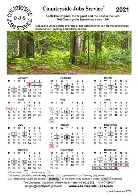picture of the CJS calendar for 2021