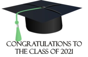 image of a mortar board and the message: Congratulations to the class of 2021