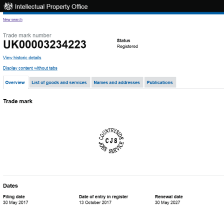 screen grab of the CJS logo entry on the Intellectual Property Register