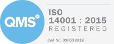 Logo: QMS ISO 14001 : 2015 Registered