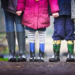 legs of adult and children wearing muddy wellies (image: Ben Wicks on Unsplash)