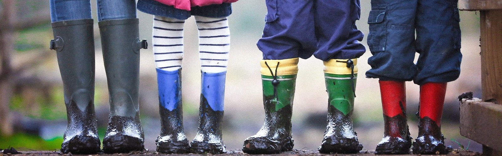 Adult and children wearing muddy wellingtons (image: Ben Wicks on Unsplash)