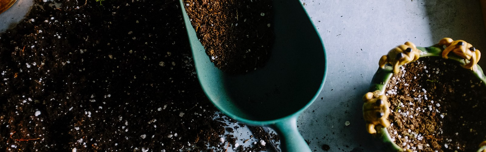 scoop of compost on a work bench (image: Neslihan Gunaydin on Unsplash)