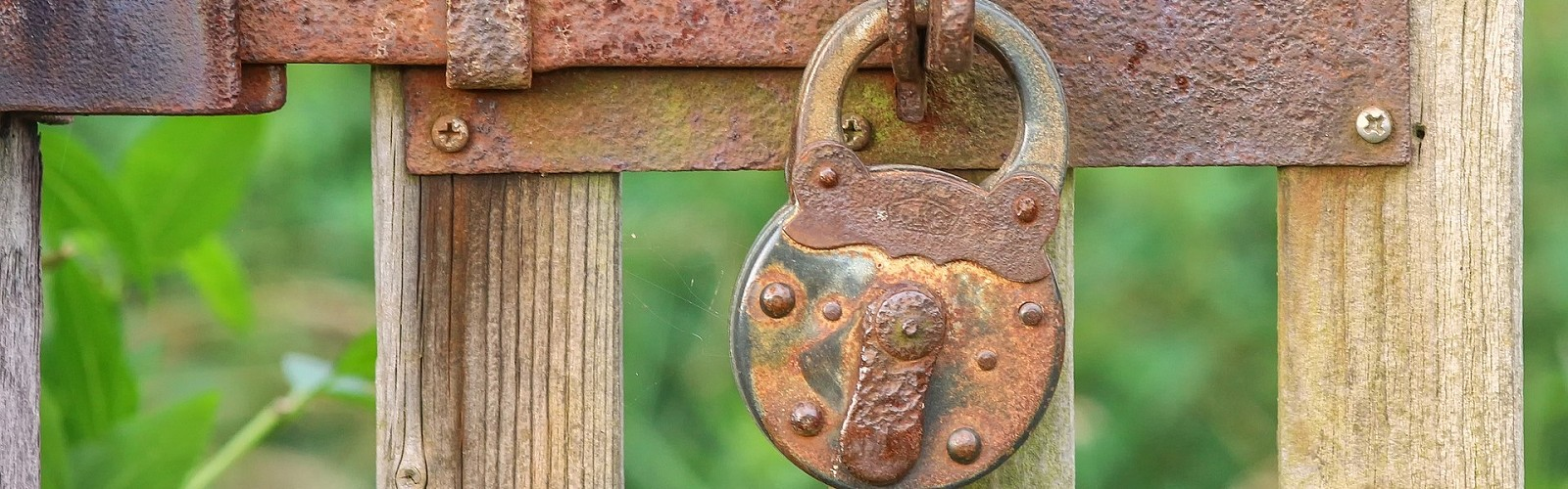 rusty padlock on a garden gate (pixabay)